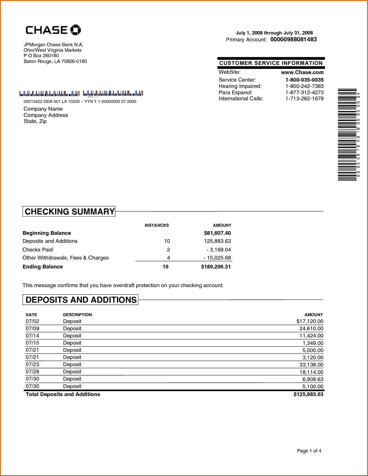 Chase Bank Statement Online Template | Best Template For Credit Card Statement Template