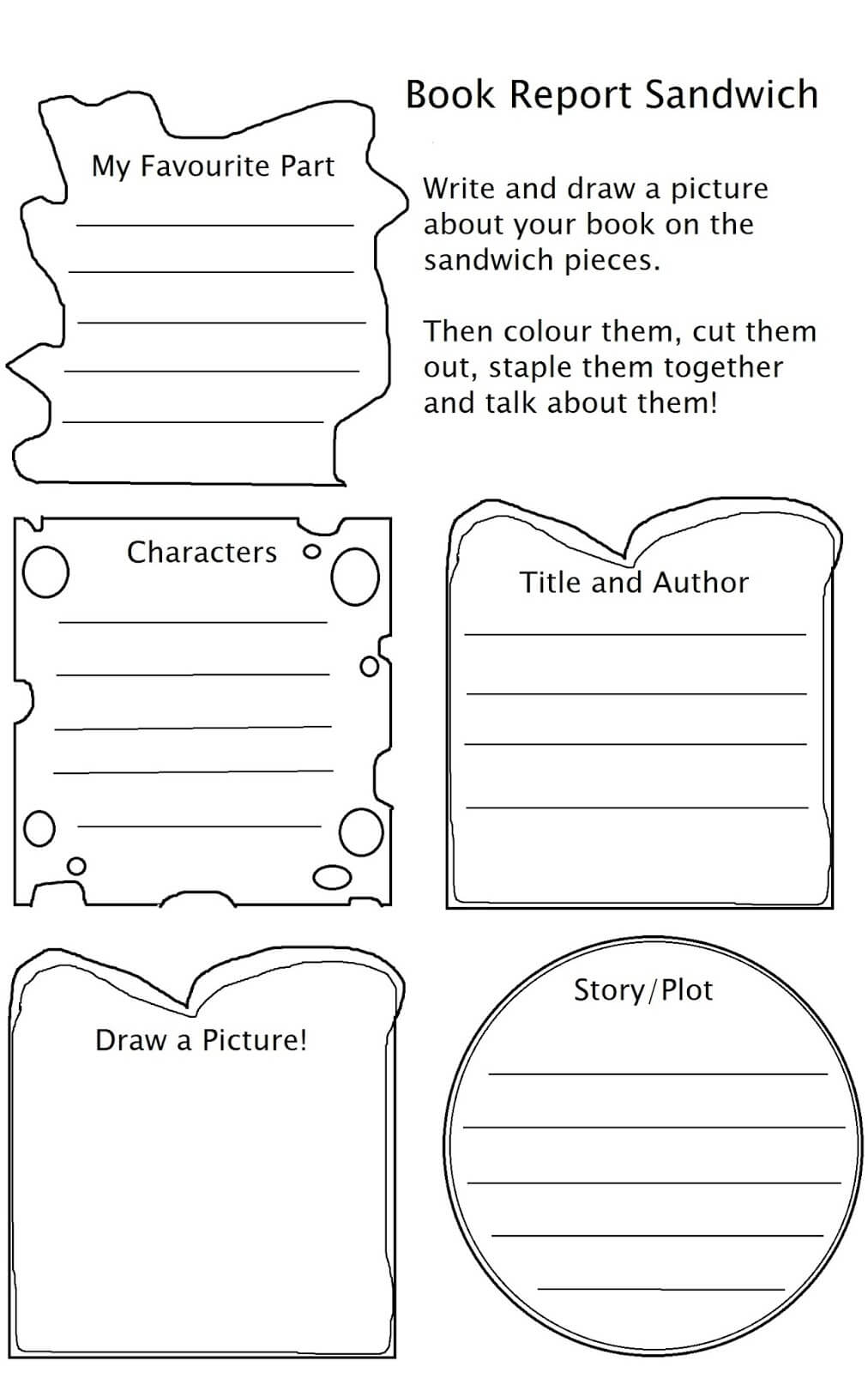 Cheeseburger And Sandwich Book Reports K 6Th Grade Inside Sandwich Book Report Printable Template