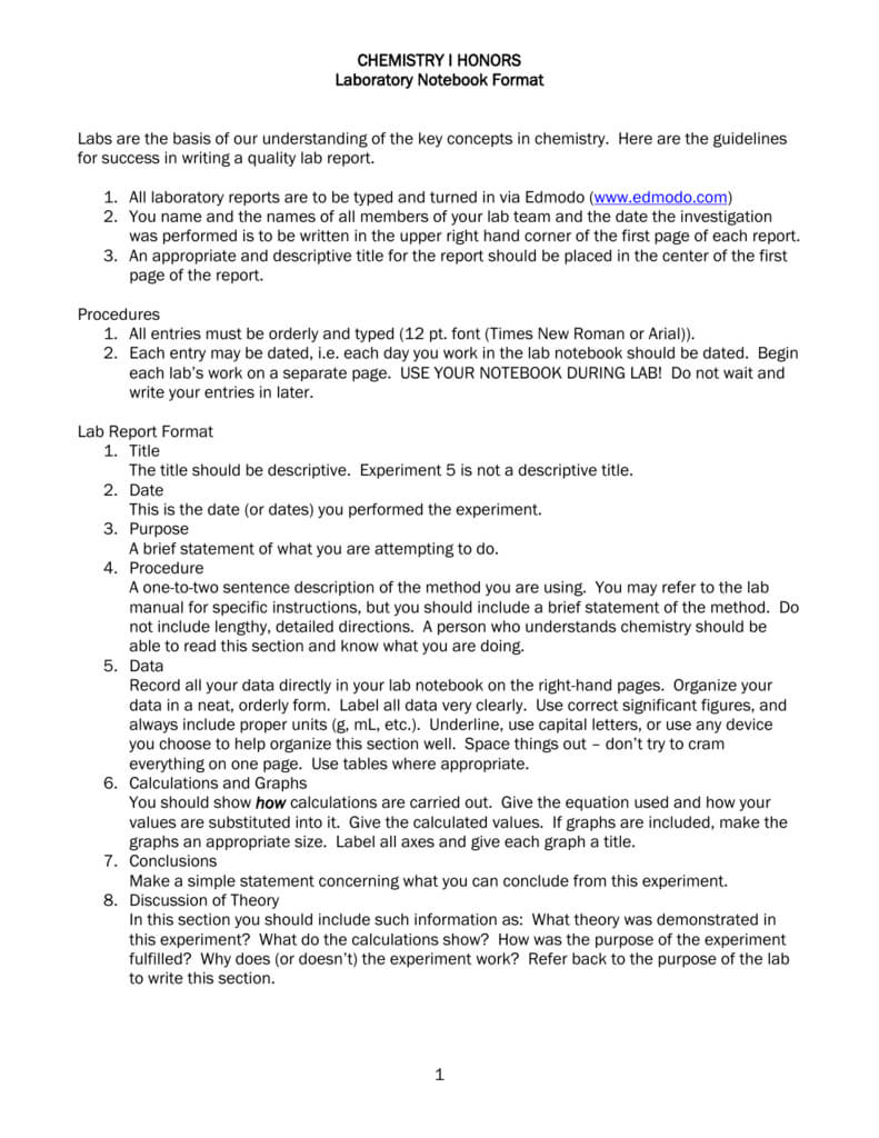 Chemistry I Honors Lab Report Format Pertaining To Lab Report Template Chemistry
