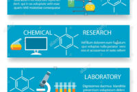 Chemistry Lab Banners. Vector Science Experiment Backgrounds in Science Fair Banner Template