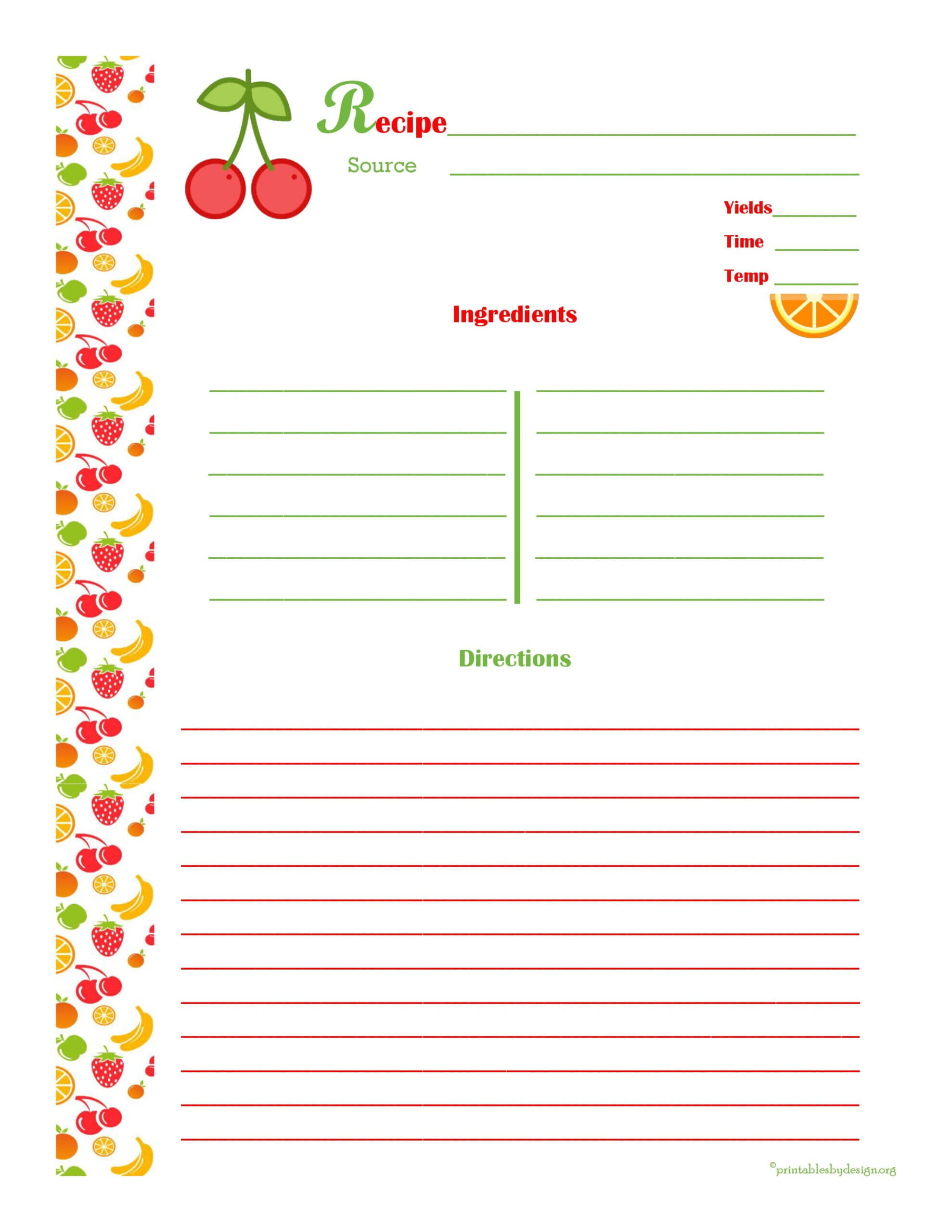 Cherry & Orange Recipe Card - Full Page | Printable Recipe For Microsoft Word Recipe Card Template
