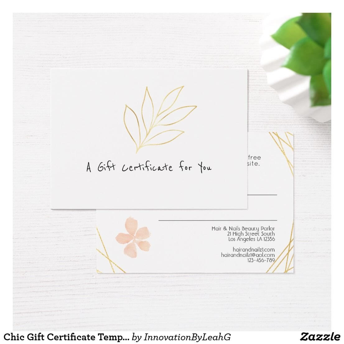 Chic Gift Certificate Template Add Logo Gold Leaf | Zazzle Pertaining To Elegant Gift Certificate Template