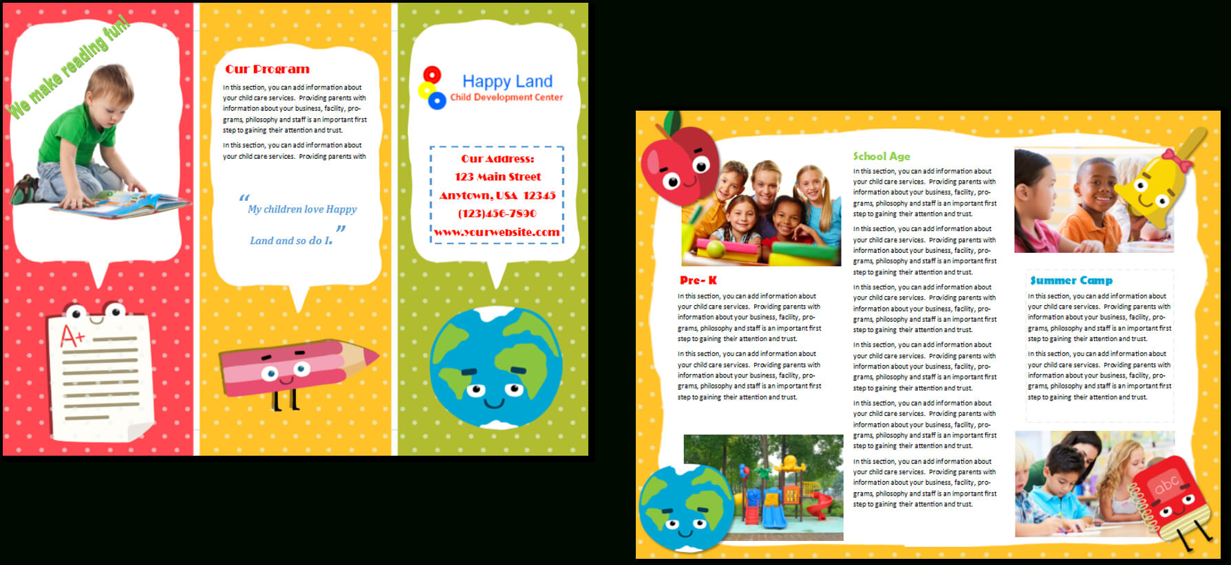 Child Care Brochure Template 22 With Regard To Daycare Brochure Template