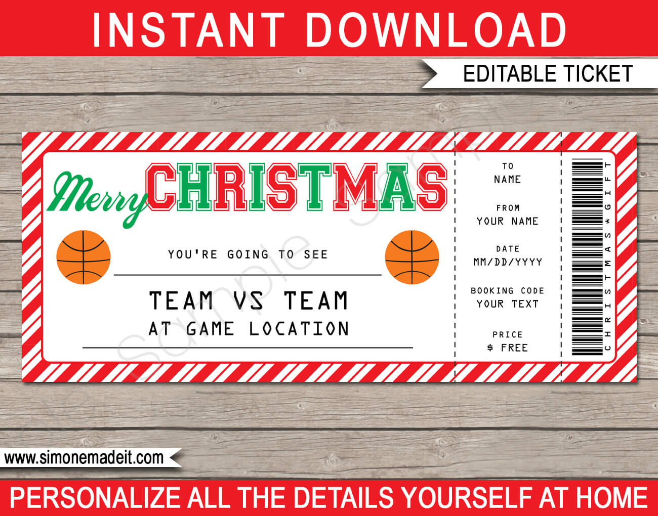 Christmas Basketball Ticket Gift Voucher | Printable Throughout Movie Gift Certificate Template