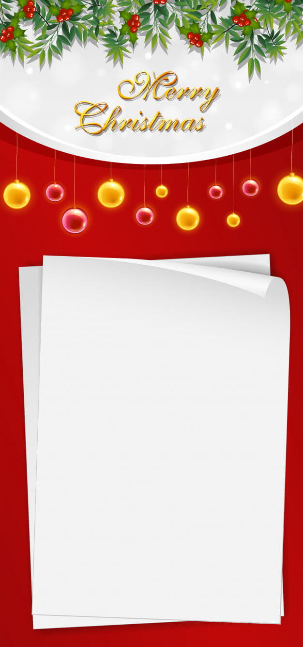 Christmas Card Template With Blank Paper And Mistletoes Eps Within Blank Christmas Card Templates Free