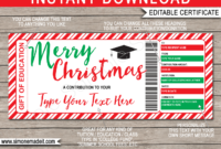 Christmas Education Gift Certificate pertaining to Christmas Gift Certificate Template Free Download