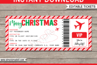 Christmas Gift Boarding Pass Ticket Template | Surprise Trip regarding Plane Ticket Template Word