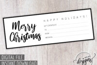 Christmas Gift Certificate, Gift Certificate Printable, Gift within Black And White Gift Certificate Template Free