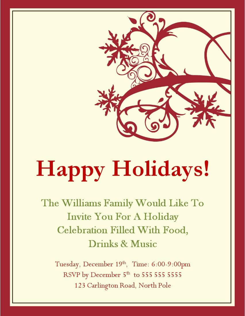 Christmas Party Invitations Templates Microsoft   Holiday Regarding Free Christmas Invitation Templates For Word