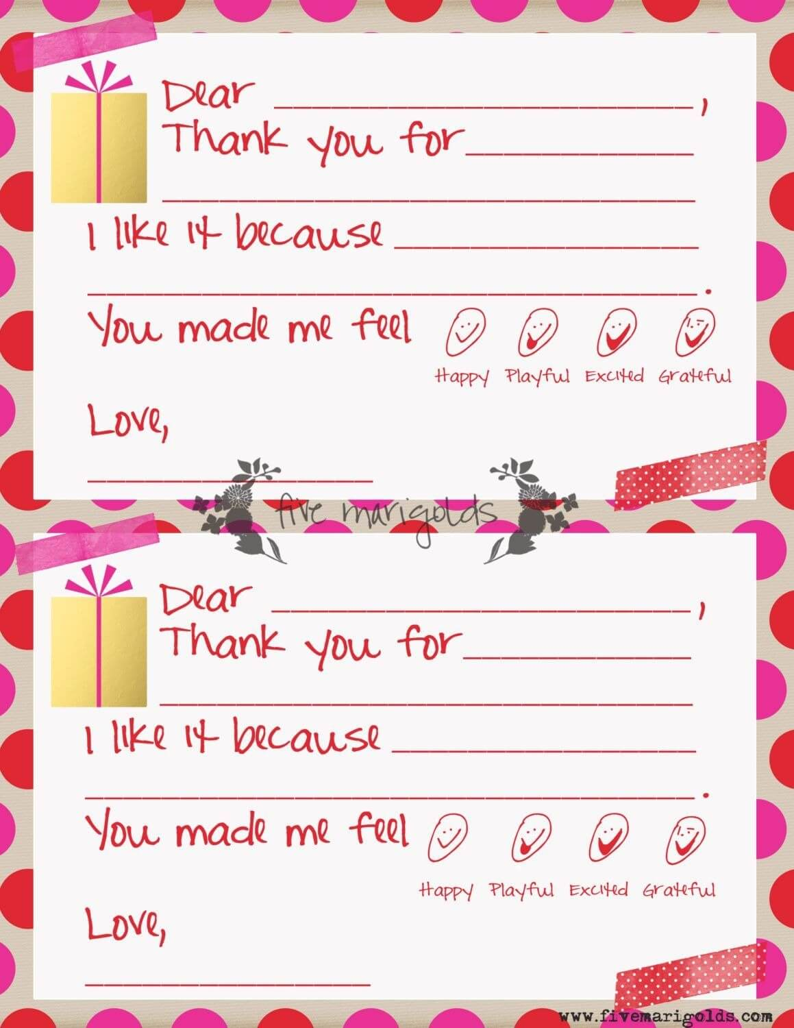 Christmas Thank You Note Template For Kids   Www For Christmas Thank You Card Templates Free