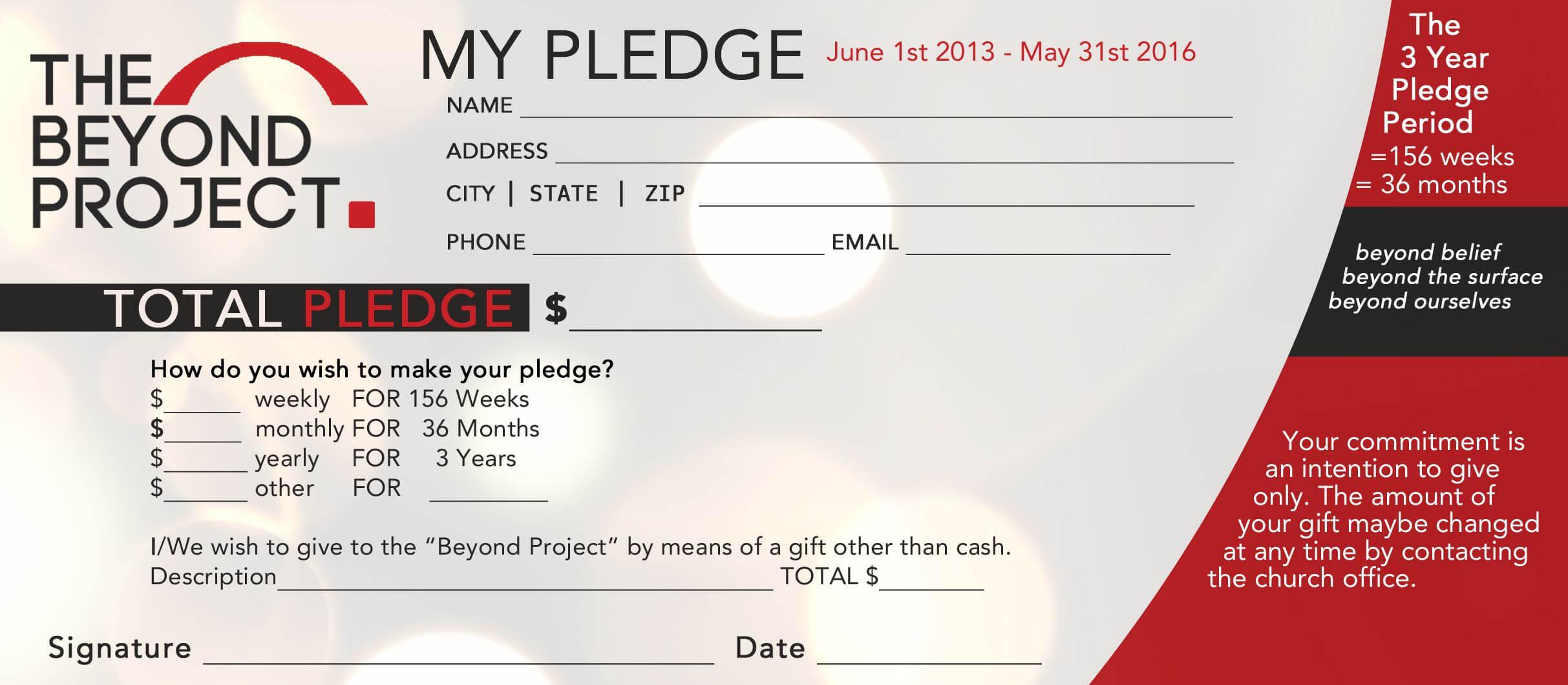 Church Pledge Form Template Hausn3Uc | Free Business Card Intended For Free Pledge Card Template