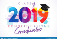 Class Of 2019 Year Graduation Banner, Awards Concept Stock regarding Graduation Banner Template