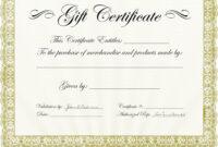 Classy Gift Certificate Template | Certificatetemplategift within Validation Certificate Template