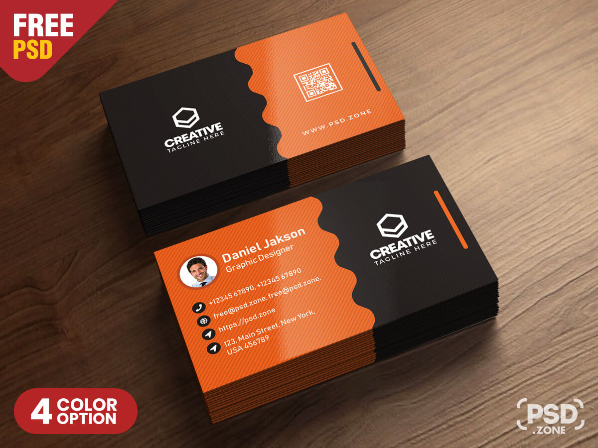 Clean Business Card Psd Templates - Psd Zone Throughout Template Name Card Psd