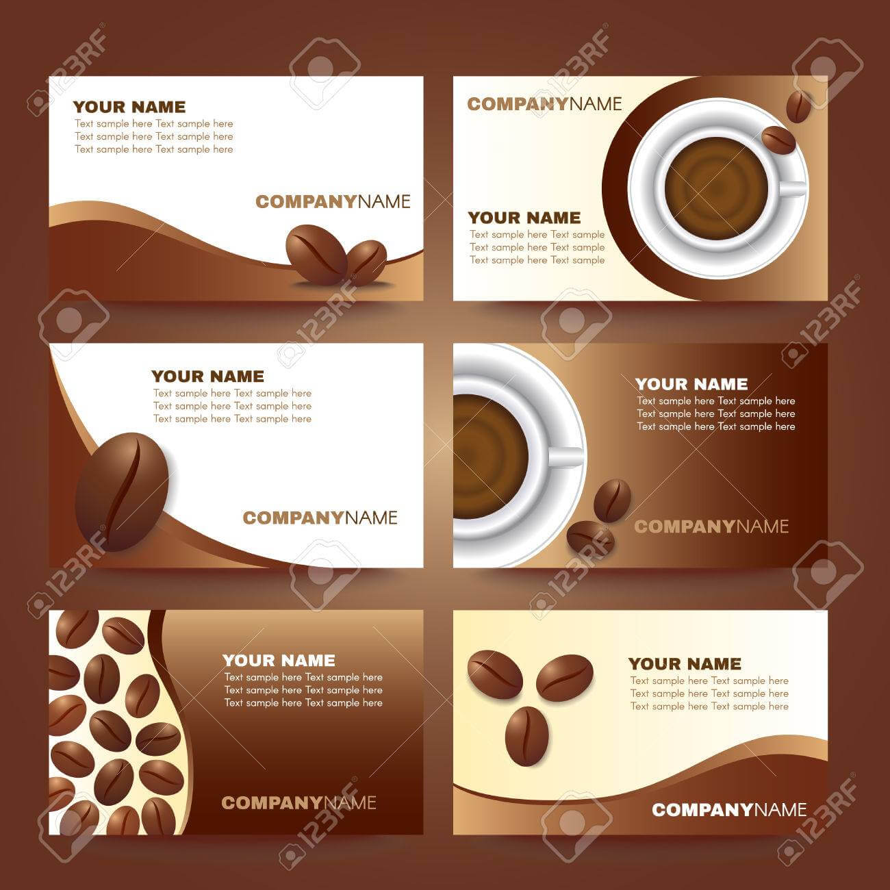 Coffee Business Card Template Vector Set Design Within Coffee Business Card Template Free