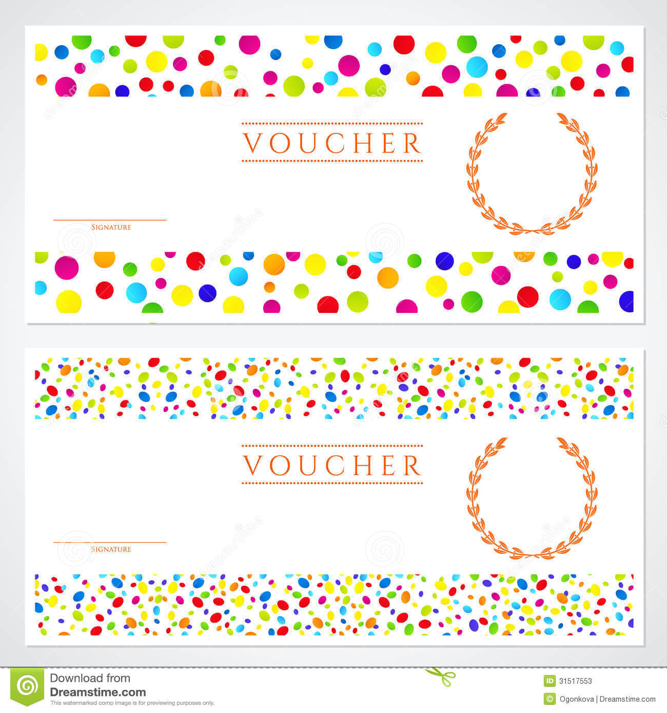 Colorful Gift Certificate (Voucher) Template Stock Vector Pertaining To Kids Gift Certificate Template