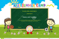 Colorful Kids Summer Camp Diploma Certificate Template In intended for Basketball Camp Certificate Template