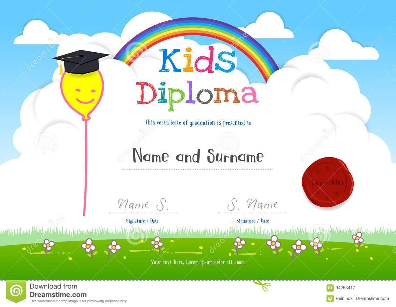 Colorful Kids Summer Camp Diploma Certificate Template In Within Children's Certificate Template