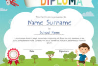 Colorful Kids Summer Camp Diploma Certificate Template Stock pertaining to Summer Camp Certificate Template