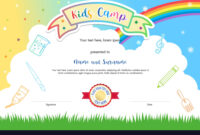 Colorful Kids Summer Camp Diploma Certificate with regard to Summer Camp Certificate Template