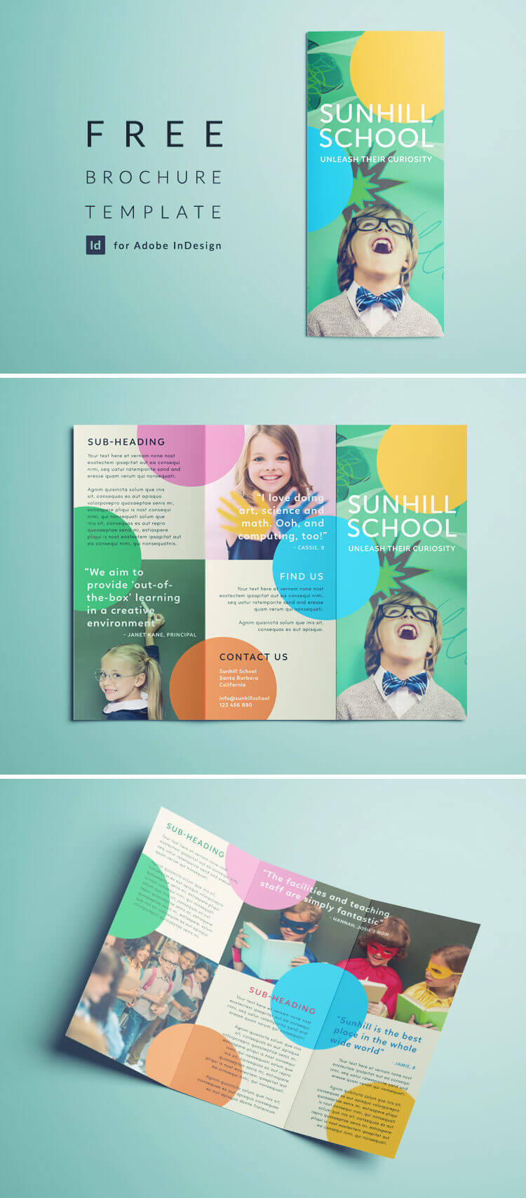 Colorful School Brochure - Tri Fold Template | Download Free For School Brochure Design Templates
