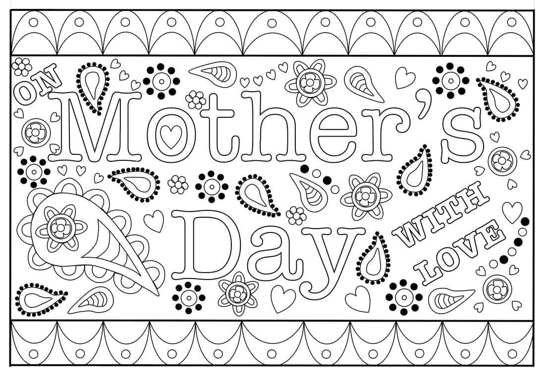 Colouring Mothers Day Card Free Printable Template Within Mothers Day Card Templates