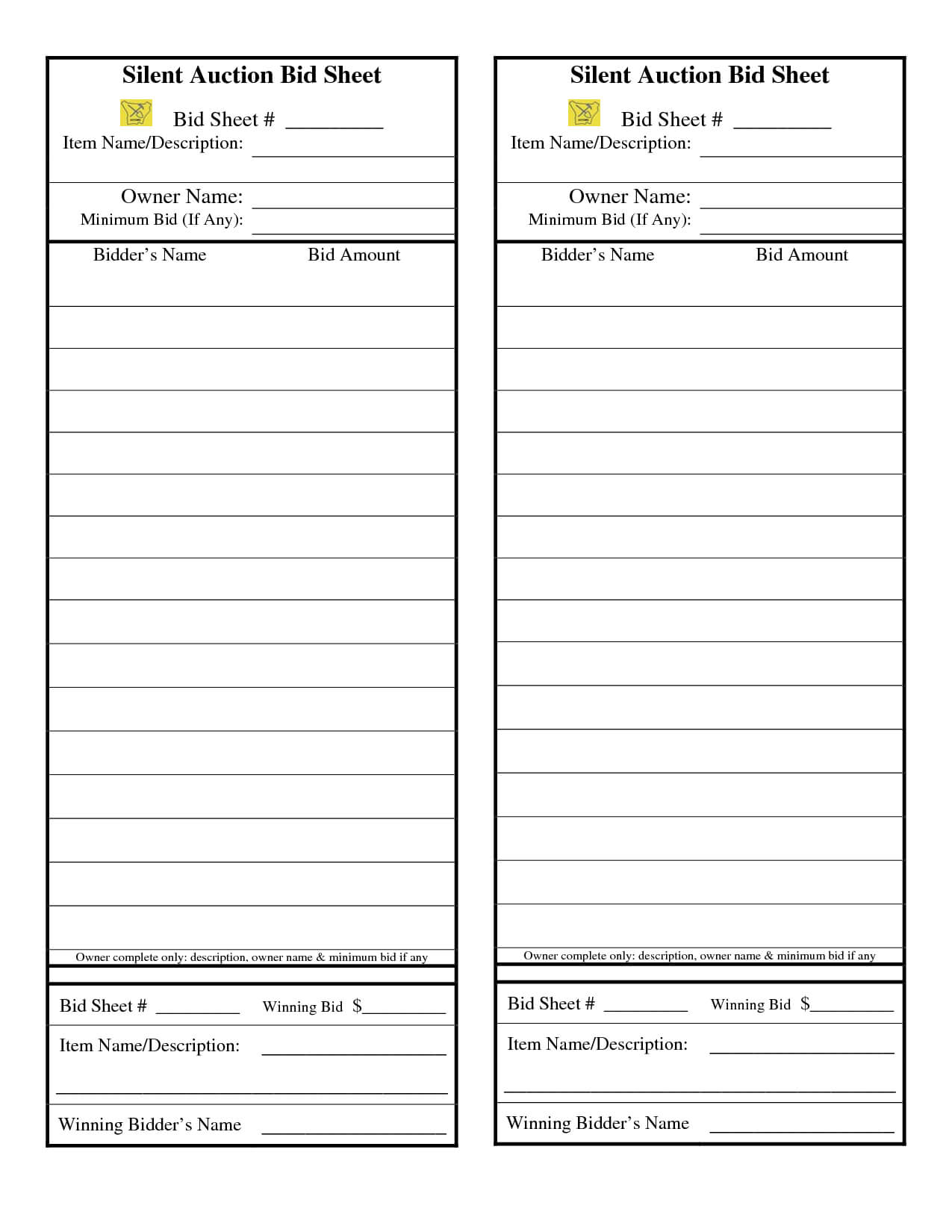 Comdocs21526829Silent Auction Bid Sheet Silent | Silent With Regard To Auction Bid Cards Template
