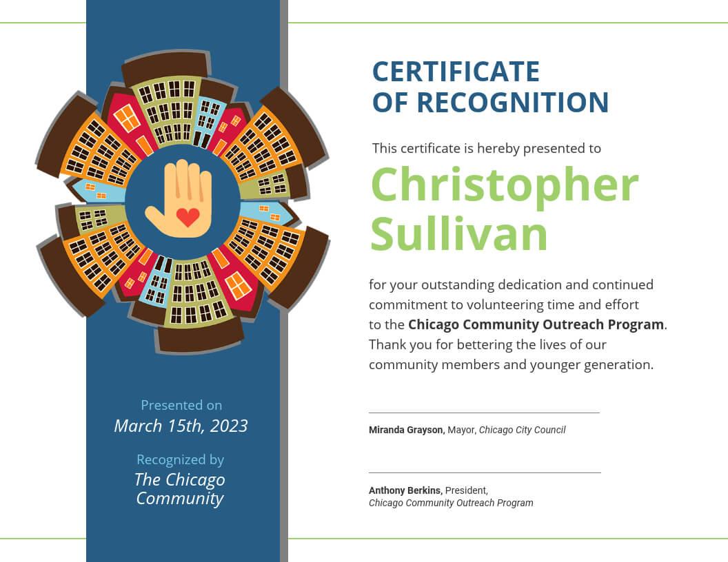 Community Volunteer Certificate Of Recognition Template With Regard To Volunteer Certificate Templates