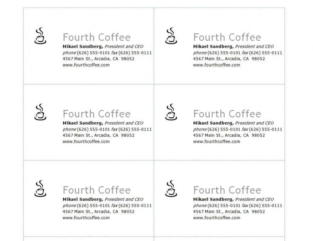 Compatible With Avery Business Card Template Intended For Word 2013 Business Card Template
