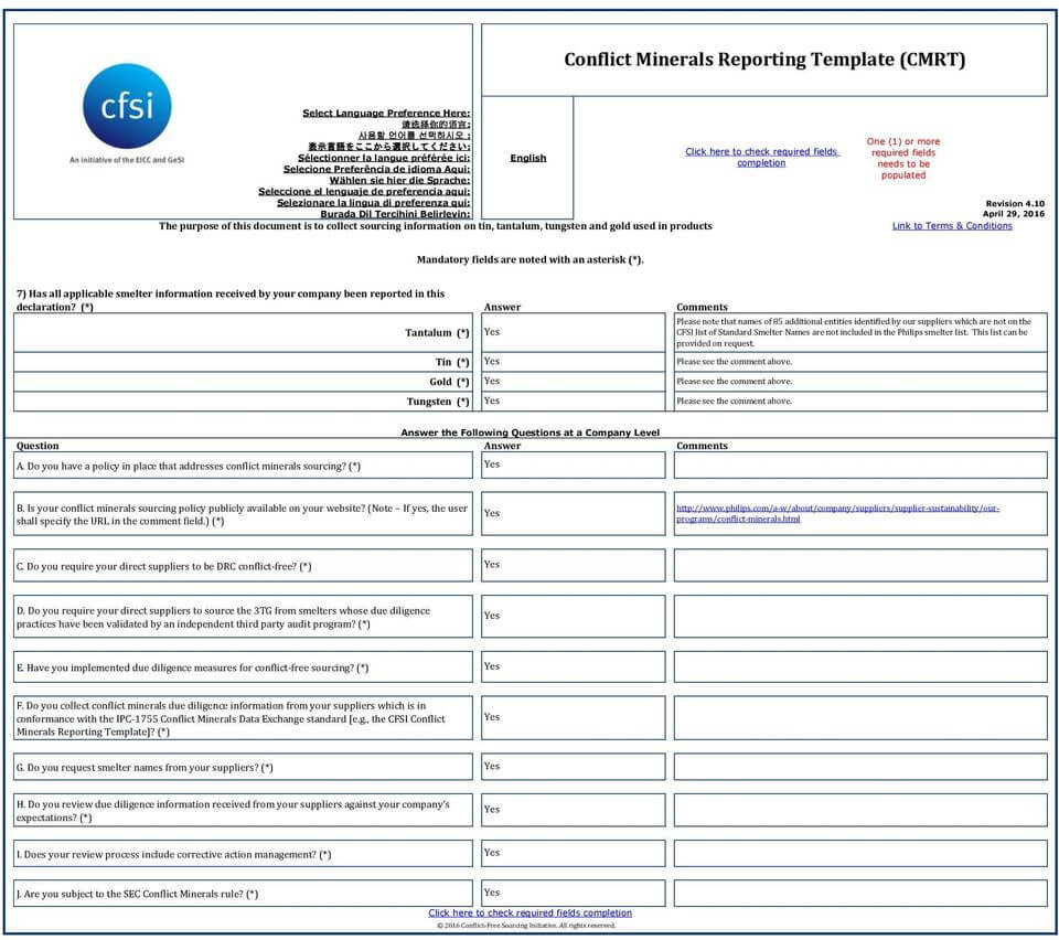 Conflict Minerals Reporting Template (Cmrt) - Pdf Free Download Intended For Conflict Minerals Reporting Template