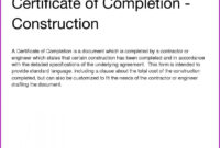 Construction Completion Certificate Template throughout Certificate Of Completion Construction Templates