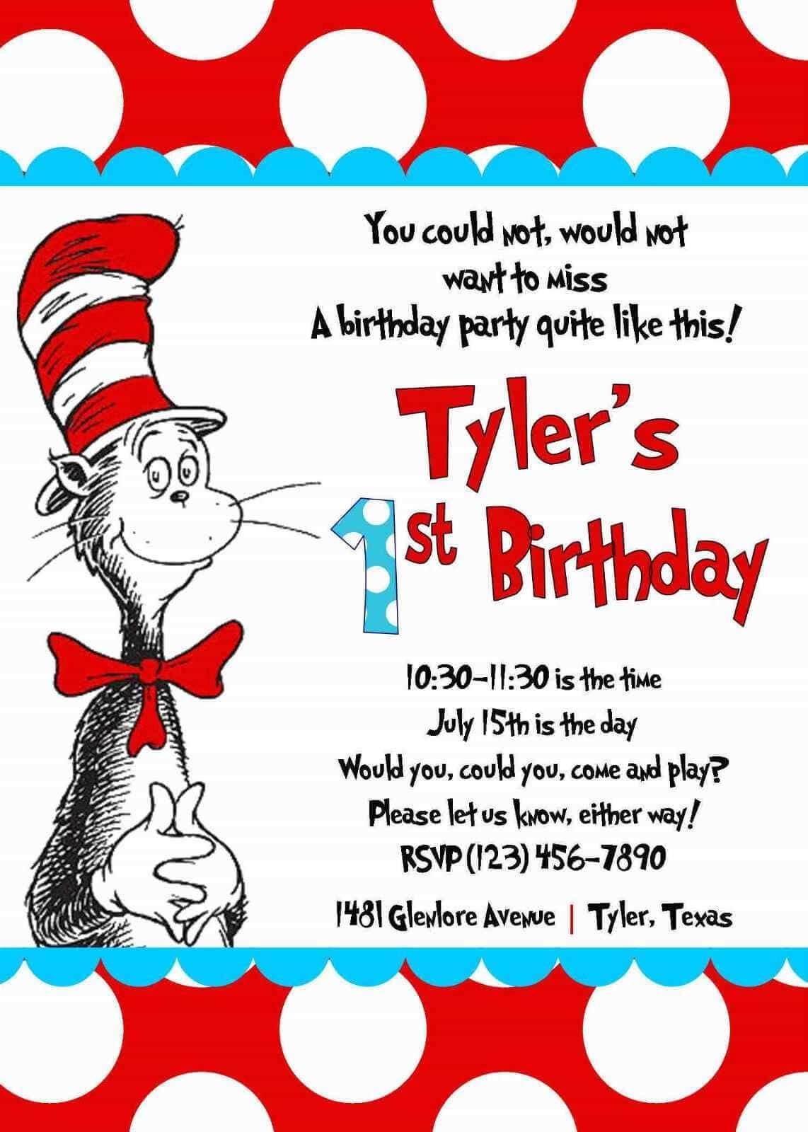 Cool Create Easy Dr Seuss Birthday Invitations | Dr Seuss Throughout Dr Seuss Birthday Card Template