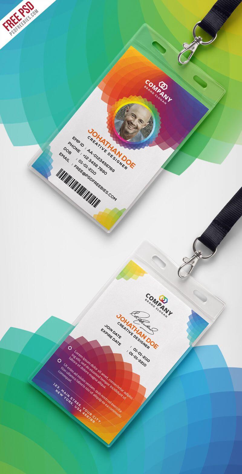 Corporate Branding Identity Card Free Psd | Id Card Template Pertaining To Media Id Card Templates