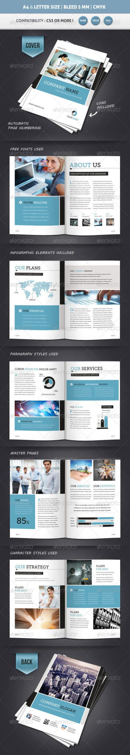 Corporate Brochure Template A4 & Letter 12 Pages Intended For 12 Page Brochure Template