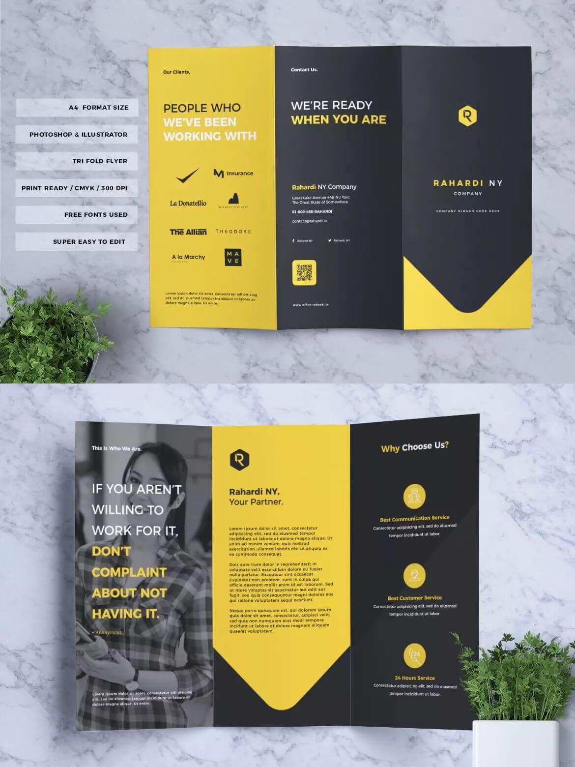 Corporate Business Tri Fold Brochure Template Psd, Ai, Eps In 3 Fold Brochure Template Psd