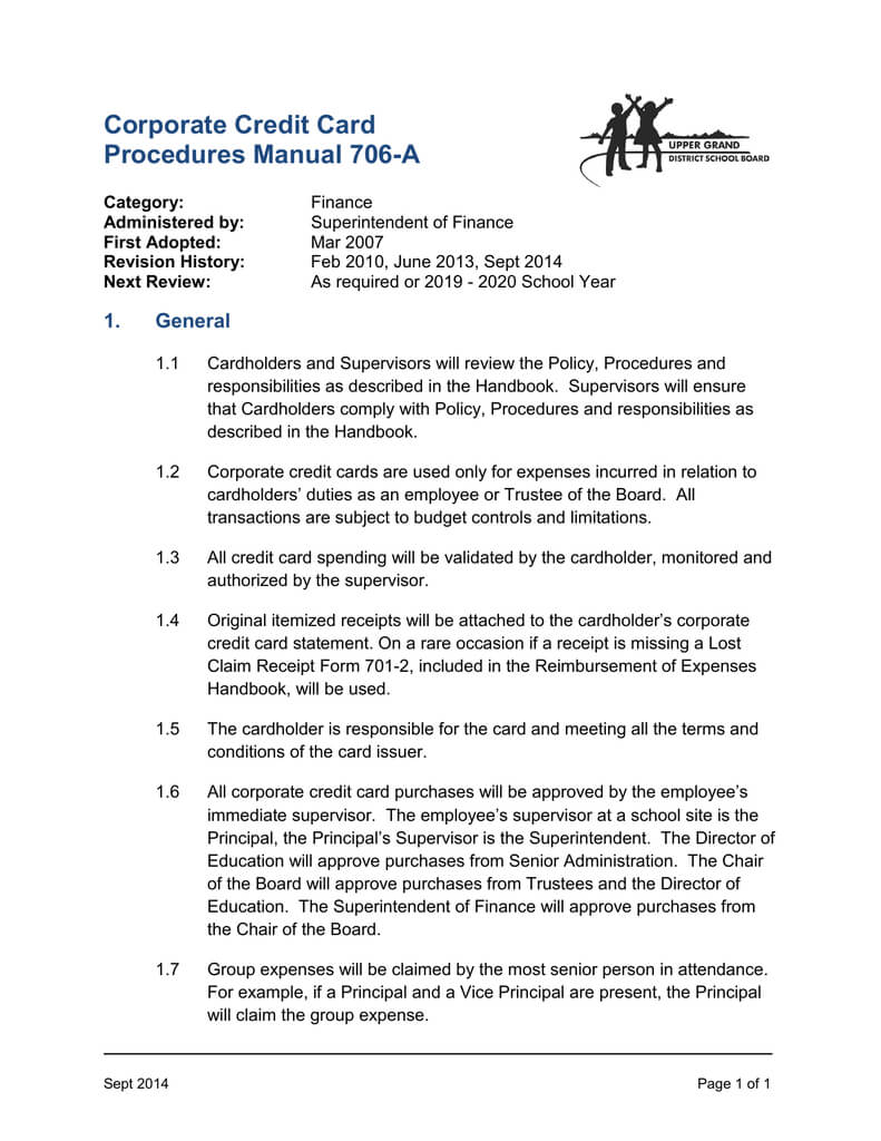 Corporate Credit Card Procedures Manual 706 A Throughout Company Credit Card Policy Template