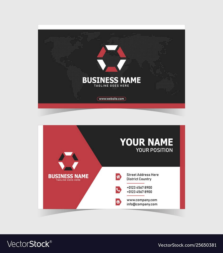 Corporate Double Sided Business Card Template With Regard To 2 Sided Business Card Template Word