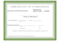 Course Completion Certificate Template | Certificate Of with Free Training Completion Certificate Templates