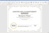 Create A Certificate Of Recognition In Microsoft Word pertaining to Scholarship Certificate Template Word