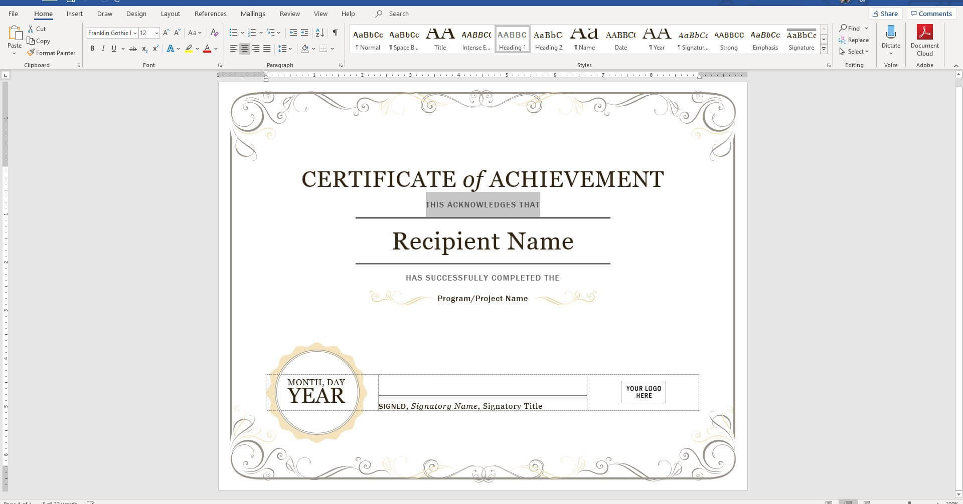 Create A Certificate Of Recognition In Microsoft Word Throughout Superlative Certificate Template