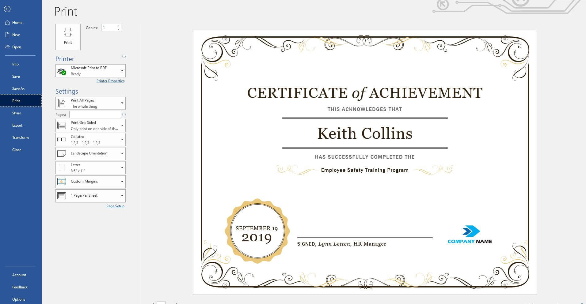 Create A Certificate Of Recognition In Microsoft Word Throughout Word 2013 Certificate Template