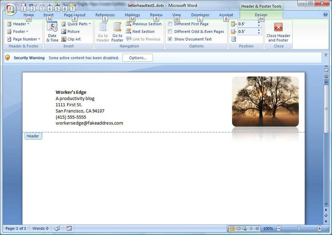 Create A Letterhead Template In Microsoft Word - Cnet Throughout How To Create A Letterhead Template In Word