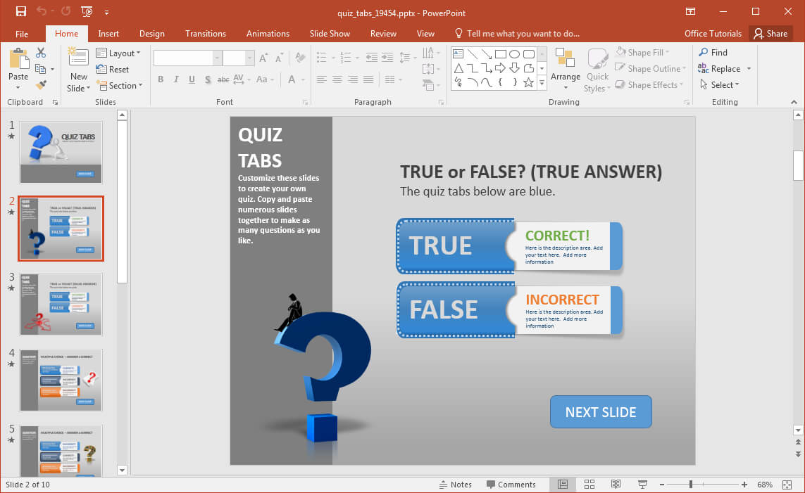 Create A Quiz In Powerpoint With Quiz Tabs Powerpoint Template Throughout Quiz Show Template Powerpoint