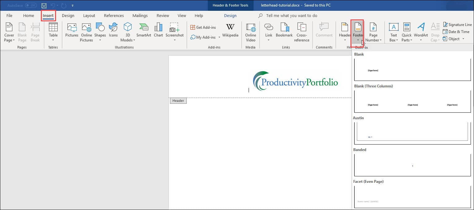 Create A Word Letterhead Template | Productivity Portfolio With Regard To Header Templates For Word