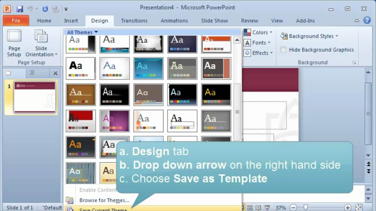 Creating And Setting A Default Template Or Theme In Powerpoint Within Powerpoint Default Template