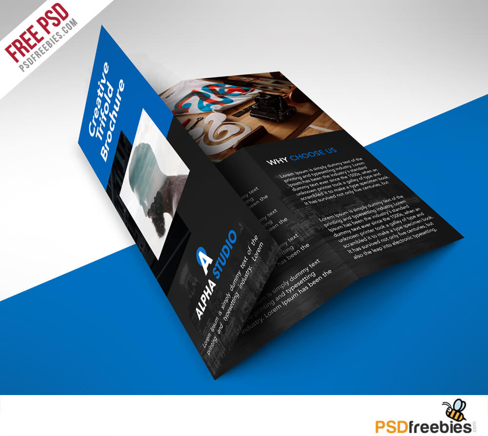 Creative Agency Trifold Brochure Free Psd Template Within Brochure Psd Template 3 Fold