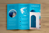 Creative Blue Greece Travel Trifold Brochure Idea intended for Island Brochure Template