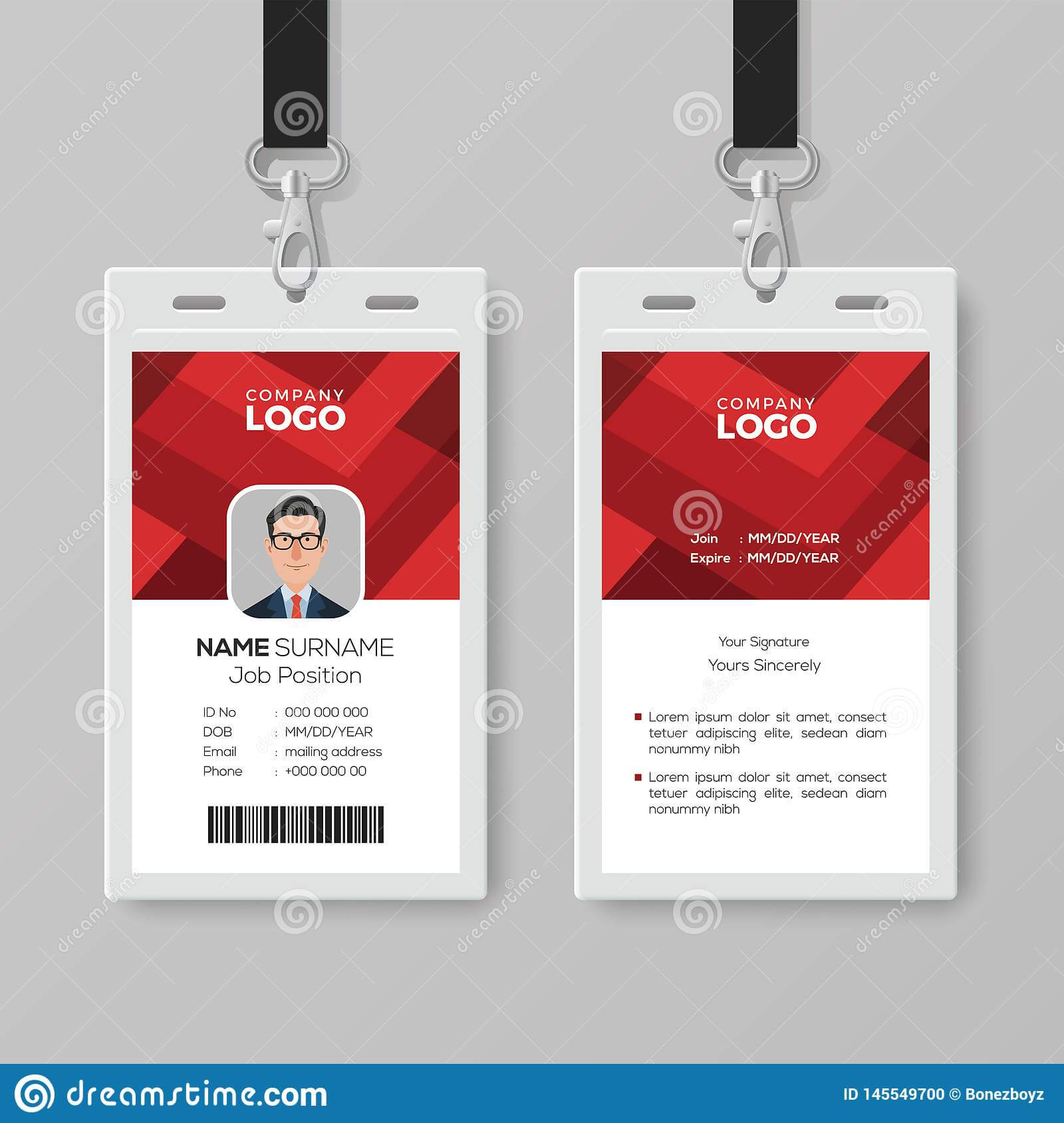 Creative Id Card Template With Abstract Red Background Stock Throughout Conference Id Card Template