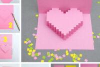 Creative Ideas – Diy Pixel Heart Popup Card in Pixel Heart Pop Up Card Template