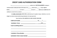 Credit Card Authorization Form – Fill Online, Printable with Hotel Credit Card Authorization Form Template